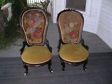 wonderful pair of antique george henkel rosewood slipper chairs needle point