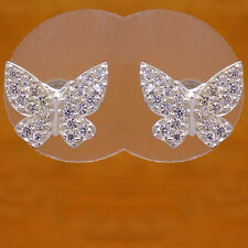 Butterfly White Cz Stud Earrings Marvelous Solid 925 Sterling Silver Beautiful