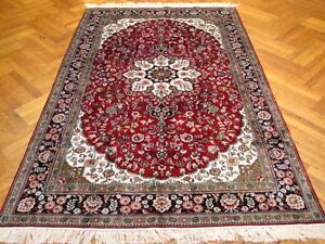 Silk Rug Hand-Knotted 5' X 8' Red - Black Oriental Modern Home Or Office Rug