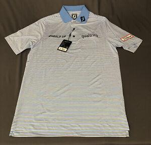 Foot Joy Titleist Logo Tour Issue Golf Shirt Polo (S, Blue, Striped)(NWT)