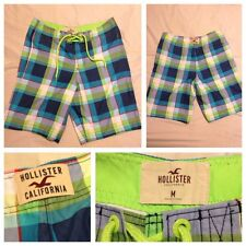 Hollister By Abercrombie Mens M Blue Green Check Plaid Board Shorts Trunks Suit