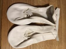 White Leather Ballet Dance Yoga Shoes Leather sole. adults Size 8