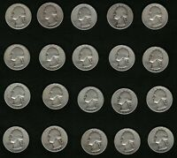 Lot of 20 US Washington Silver Quarters Coins Years: 1945 and 1946 FREE Delivery