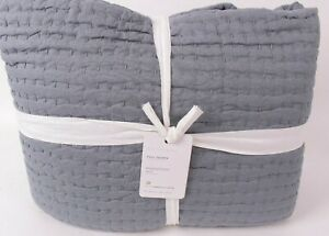 Pottery Barn Pick-stitch handcrafted cotton linen FQ quilt Sonoma Blue full quen