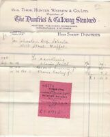 The Dumfries & Galloway Standard 1931 Re Advertising Invoice & Receipt Ref 41167