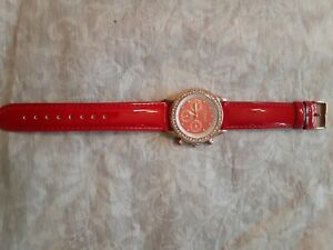 AKRIBOS XXIV EXCITING PRETTY RED DIAL WATCH ROSE GOLD TONE WITH CRYSTALS