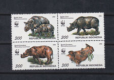indonesia 1996  WWF,Sc 1673 set,block of four,Rhino..        f2219