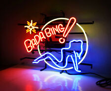 BADA BING Sexy Girl Drink Beer Bar Pub Wall Decor NEON Sign Light Real Glass