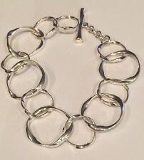 "Beautiful Silver Tone Toggle Closure Bold Link Bracelet 8"""
