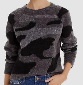 $198 Aqua Womens Gray Black Camo Crew-Neck Long-Sleeve Sweater Sweatshirt Size M