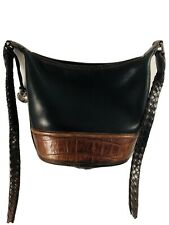 Brighton Black/Brown Moc Croc Leather Bucket Bag - Benefits Charity