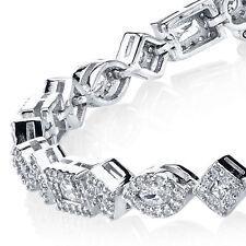 925 Sterling Silver Multi Cut Shape CZ Tennis Bracelet, Marquise, Emerald, round