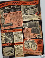 """1941 PAPER AD Monark """"New"""" Reggie McNamara Bicycle Apollo Vacuum Cleaner"""