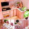 LED Light Wooden 3D DIY Dollhouse Miniature Furniture Doll House Kids Toys  Ц