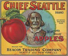 "RARE OLD ORIGINAL 1926 LITHO ""CHIEF SEATTLE BRAND"" BOX LABEL ART WENATCHEE WASH"