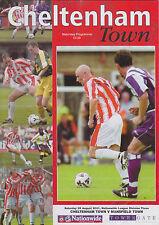 Football Programme>CHELTENHAM TOWN v MANSFIELD TOWN Aug 2001