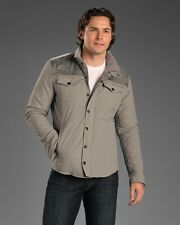 PREMIUM LOUNGE LIGHTLY QUILTED SHIRT STYLE GREY MEN JACKET SIZE L