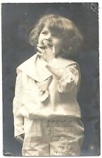 BW Photo Postcard  ~ Young Child Holding a Cigar to Mouth   c1910-20s