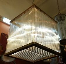 ANTIQUE OLD VINTAGE ART DECO FIXTURE CEILING BRASS HANGING LIGHT GLASS ROD LAMP