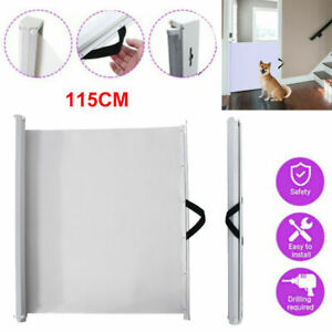 Pet Safety Gate Retractable Dog Barrier Folding 115CM Home Doorway Stair Guard