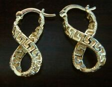 NEW INFINITY HOOP DANGLE  EARRINGS 18k YELLOW GOLD PLATED GREEK KEY DESIGN