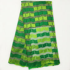 Green Mesh African French Net Lace Embroidery Beads Nigeria Voile Guipure Fabric