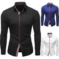 Men Long Sleeve Shirts Pro Shirt Slim Fit Solid Color Dress Shirt Tops C#P5