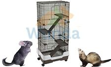 Lazy Bones Chinchilla Rodent Cage Four Tier on Wheels Brown