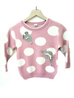 Vintage Roth Scharf Girls Crew Neck Sweater With Mouse Appliques Size Medium
