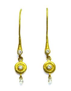 Gurhan White Diamond Briolette 24k Solid Yellow Gold Dangling Hook Earrings