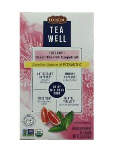 Celestial TeaWell Green Tea with Grapefruit with Vitamin C, Tea Bags, 16 Ct Box