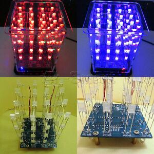 Selling 3D LED Light Squared 4x4x4 2*5*7MM LED Cube LED Red/Blue Ray DIY Kit AS