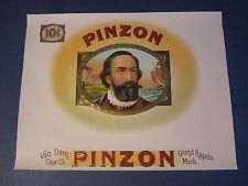 Original Old Antique PINZON Inner CIGAR LABEL - Van Dam Cigar Co. Grand Rapids