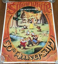 "VINTAGE DISNEY ""SNOW WHITE & THE 7 DWARFS"" POSTER- 50TH ANNIV. - 23"" X 35"" - NEW"