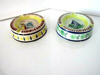 Ashtray Hand Painted Brwon/Yellow/Blue Floral from Mexico PAIR