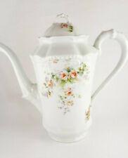 Antik Sammelstück Kaffeekanne Porzellan feine Blumen tolles Relief (19.-20. Jh)