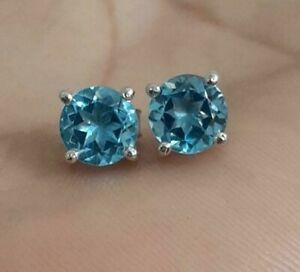 2ct Round Blue Topaz Women's Solitaire Stud 925 Silver Earring 14k White Gold FN
