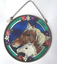 "HORSES AMIA STAINED GLASS SUNCATCHER 4.5"" ROUND"