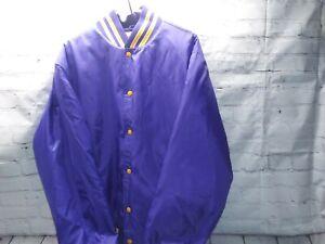 Rennoc Classic Varsity Letterman Jacket  Plain Purple And Gold Size-XL