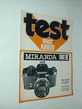 TEST PHOT ARGUS  MIRANDA RE.II et objectifs accessoires photo photographie