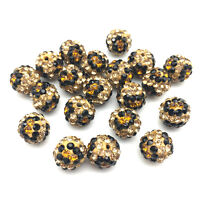 10MM Tiger Eye Disco Beads Leopard Crystal Shamballa Pave Bracelet Spacer Beads