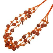 Handcraft Bohemian Necklace - Orange Coconut Shell & Wooden Beads