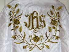 White Humeral Veil Vestment Embroidered Latin Mass Priest Clergy