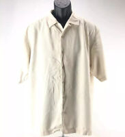 Tommy Bahama Mens 100% Silk Shirt Size Large Beige Button Down Short Sleeve