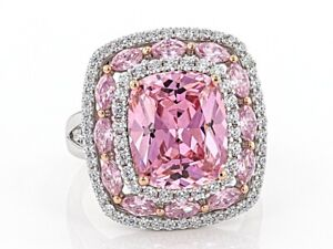 11.98TCW Cushion and Marquise Cut Pink Sapphire & Round Cut CZ Triple Halo Ring