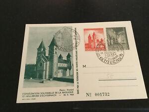 Luxemburg Briefmarken Karte Sonderstempel 1953 Echternach Basilika 2