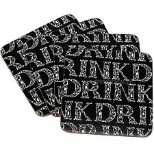 Set of 4 Black & White Words Drinks Coasters Desk Mug Cup Coffee Table Mats