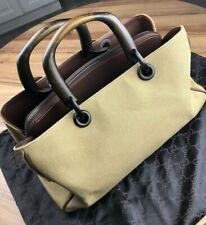 Gucci Vintage Bamboo Canvas Handbag