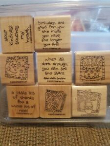 STAMPIN UP Quick And Cute Wood Stamps RARE Set Vintage 2002 Pristine