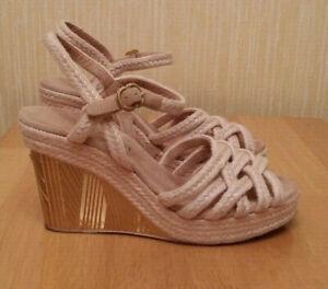 Authentic CHANEL Сanvas Suede Pink/Beige Gold  CC Logo Wedge Sandals Size 38